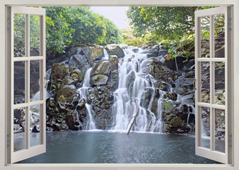 Fototapeta Do biura Waterfall view from open window