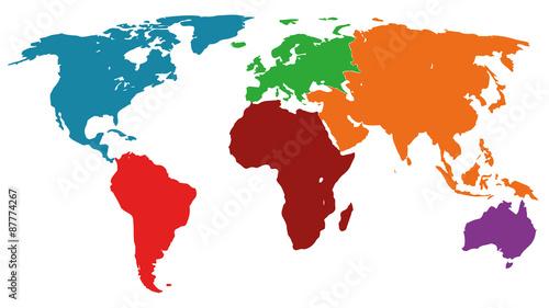 Fotografie, Obraz  Illustration Graphic Vector World Map colored