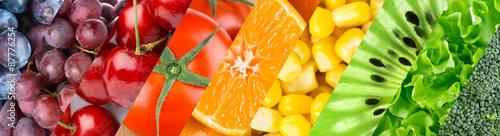Spoed Foto op Canvas Vruchten Fruits, berries and vegetables