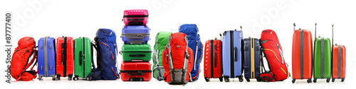 Carta da parati Suitcases and backpacks isolated on white background