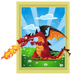 Dragon on the fairytale lan...