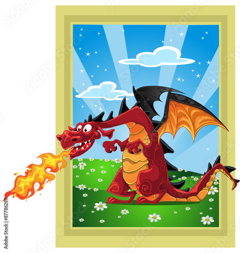 Dragon on the fairytale lan...