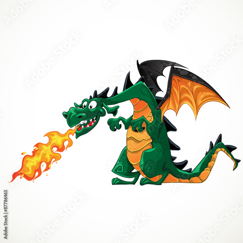 Poster Chambre d enfant vector fabulous magical green with teeth fire-spitting dragon