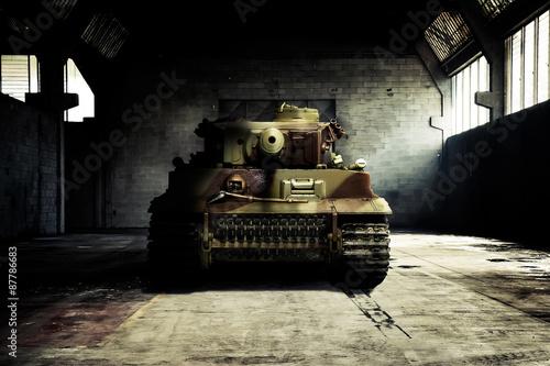 Fotografie, Obraz  German tank in the military hangar