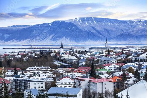 Foto auf Leinwand Skandinavien Beautiful aerial view of Reykjavik city, Iceland.