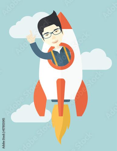 Fototapeta Asian young guy inside the rocket. obraz na płótnie