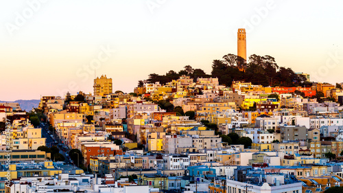 Recess Fitting Artistic monument Coit tower and houses on the hill san francisco at dusk