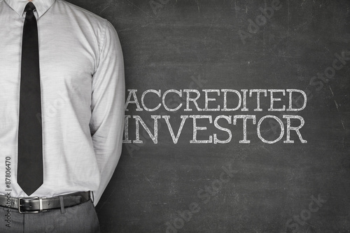 Accredited investor text on blackboard Canvas Print