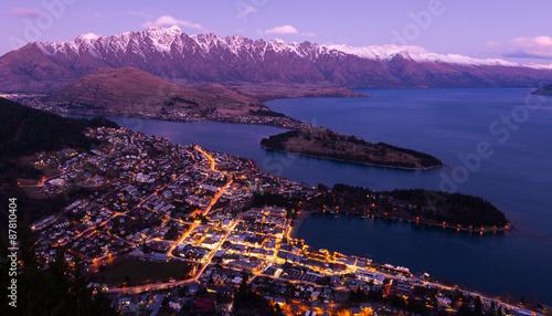 Poster Nouvelle Zélande Queenstown aerial view
