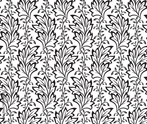 Fototapety, obrazy:  seamless black Leaves pattern