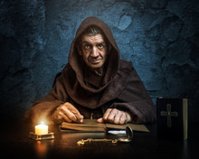 .Monk - Priest.by Candlelight - Bible Reading