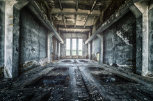 Old Ruined Factory Building From The Inside, Awesome Background