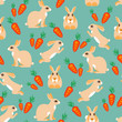 Pattern rabbit jumps, sits, lies and red carrots with green twigs. Vector Illustrator