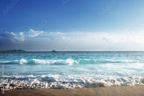 Foto auf Gartenposter Strand seychelles beach in sunset time