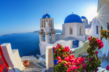 Santorini Island With Church A...