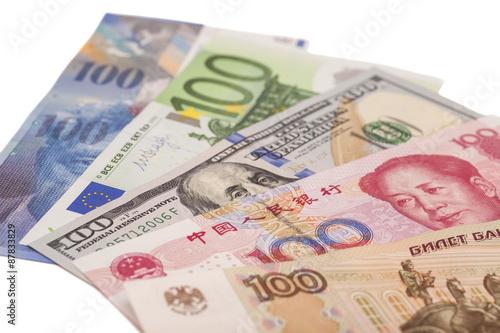 American Dollars European Euro Swiss Franc Chinese Yuan And