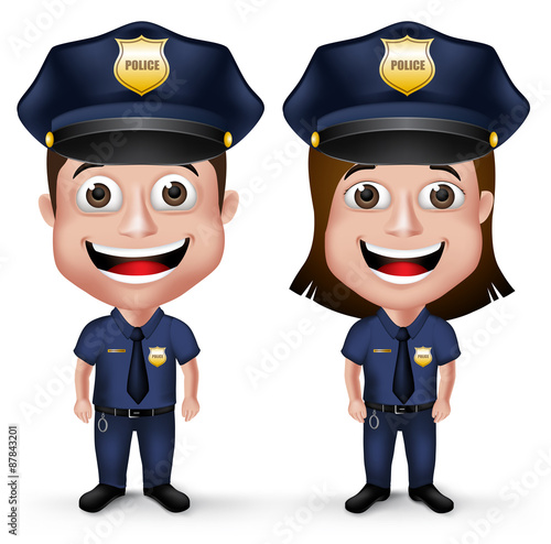 3d Realistic Friendly Police Characters Policeman And Policewoman