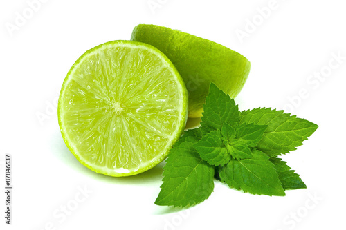 Lime isolated with mint on white background