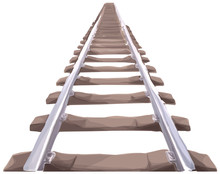 Endless Train Track. Perspective View Of Straight Train Track. Aquarell Style.