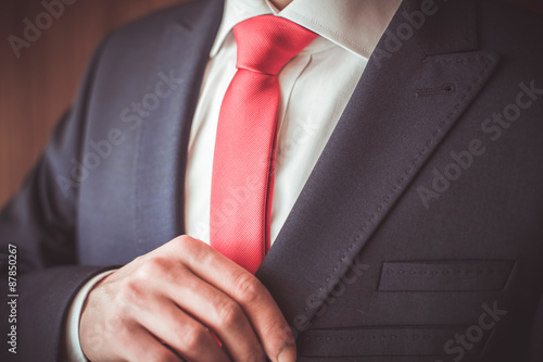 Fotografie, Obraz  A man in a suit with a red tie