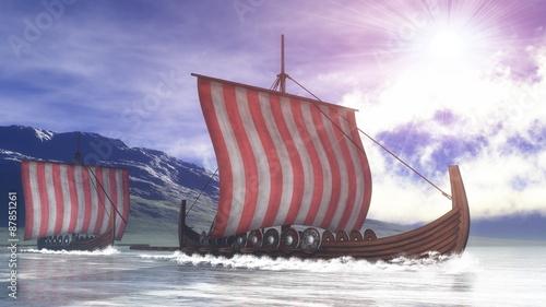 Photo  Drakkars - 3D render