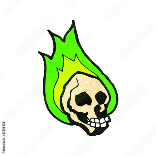 Printed kitchen splashbacks Watercolor skull retro cartoon flaming skull