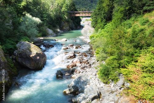 Foto op Aluminium Rivier Mountain landscape: Sesia river in Scopello, Vercelli, Italy