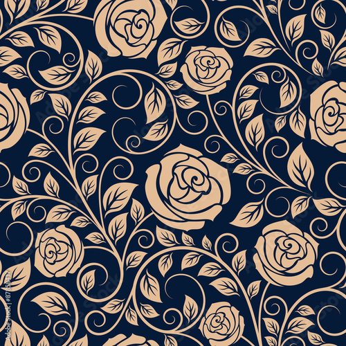 Vintage roses flowers seamless pattern Wallpaper Mural