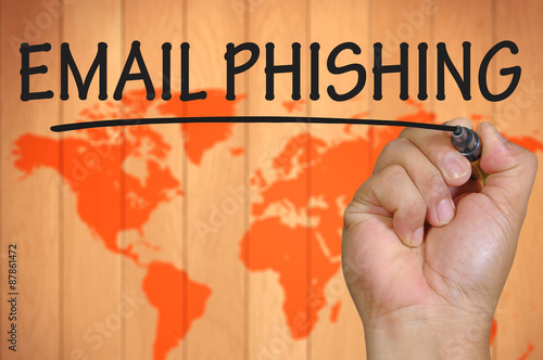 Fotografía  hand writing email phishing