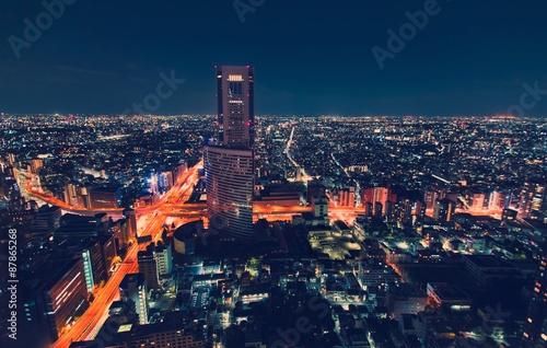 Photo  Aerial view cityscape at night in Tokyo, Japan