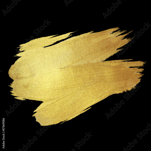 Photo  Gold Shining Paint Stain Hand Drawn Illustration