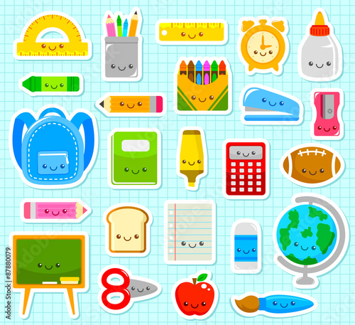 Photo  collection of cute cartoon school supply items