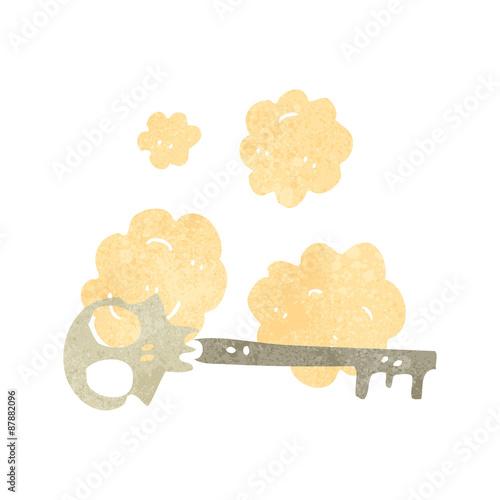 Printed kitchen splashbacks Watercolor skull retro cartoon,skeleton key