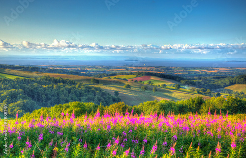 Foto  Quantock Hills Somerset countryside to Hinkley Point and Bristol Channel HDR
