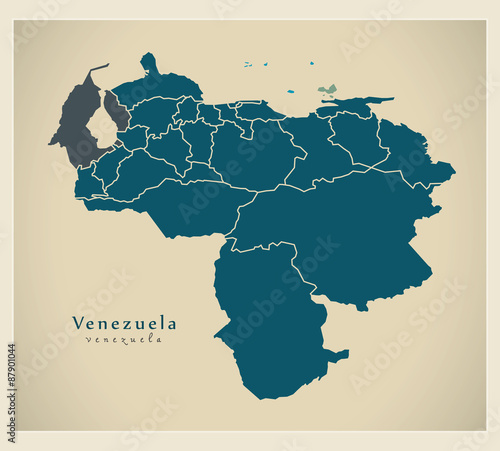 Fotografia, Obraz Modern Map - Venezuela with federal states VE