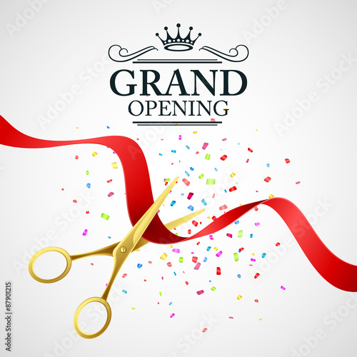 Fotografía  Grand opening illustration with red ribbon and gold scissors