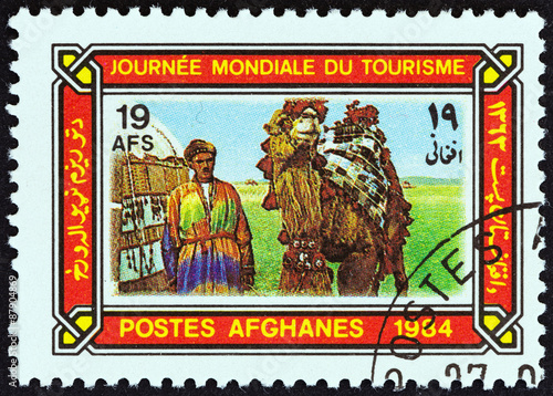 Valokuva  Camel driver and camel (Afghanistan 1984)
