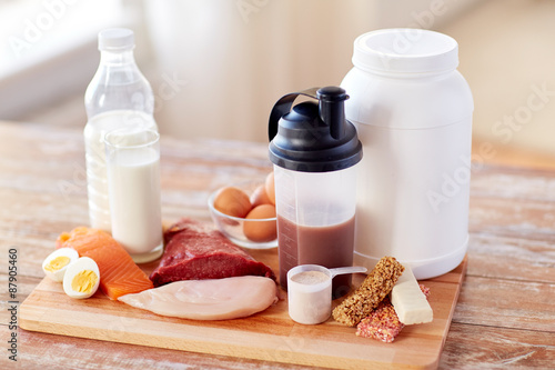 close up of natural protein food and additive