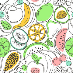 Panel Szklany Owoce Doodle colorful fruit seamless pattern.