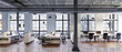 panorama view inside manhatten loft office apartment - Panoramab