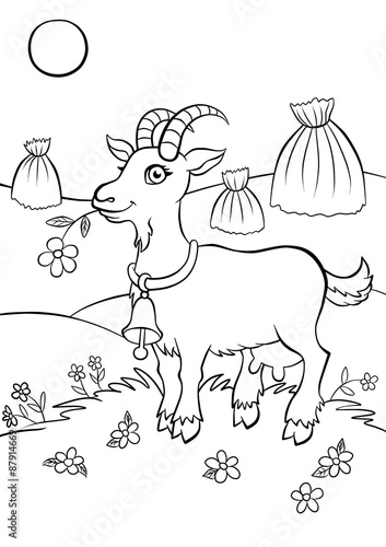 Recess Fitting Cartoon draw Cute smiling goat standing in the field