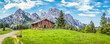 Leinwanddruck Bild - Idyllic landscape in the Alps with mountain chalet and green meadows