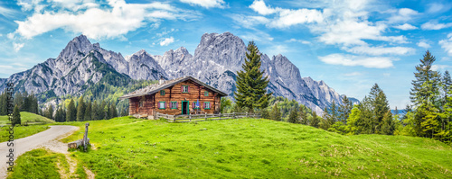 Garden Poster Blue Idyllic landscape in the Alps with mountain chalet and green meadows