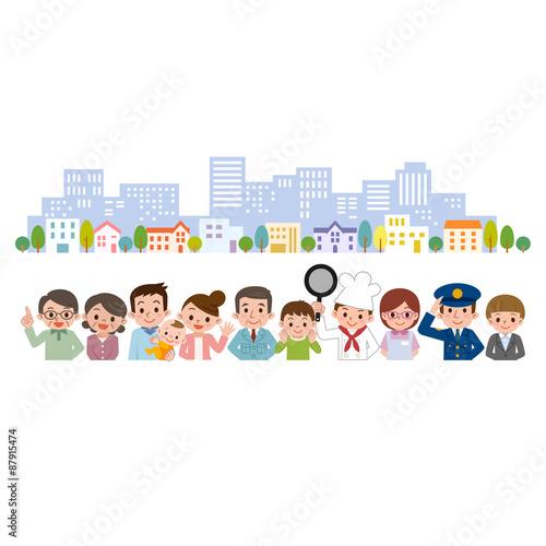 Fotografie, Obraz  地域の人々 街並 集合 集まり