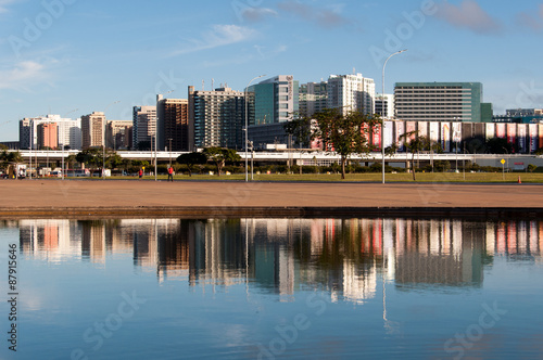 North Hotel Sector Buildings Reflected on Water, Brasilia