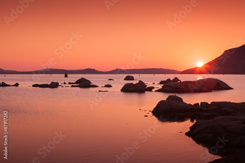 Photo sur Aluminium Corail Sunset on the coast of Porto-Vecchio, Corsica