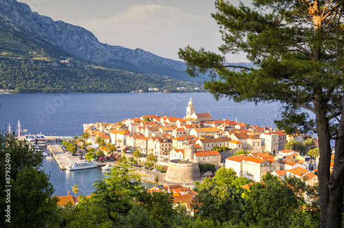 Obraz na plátně  Panorama of Korcula, old medieval town in Dalmatia region, Croatia