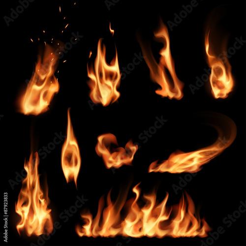 Fire flames set Canvas Print