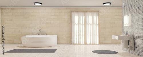 Fotografia  Badezimmer mit Waschbecken und Badewanne als Panorama