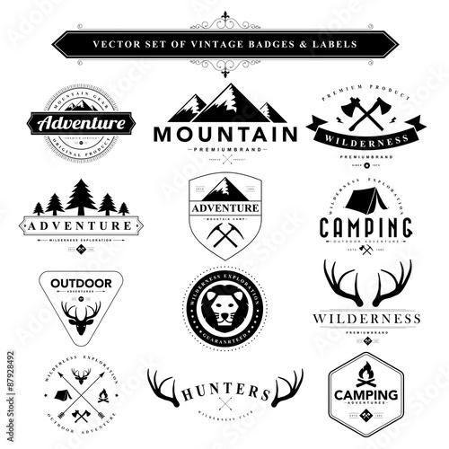 Set of black & white vintage badges and labels Wallpaper Mural